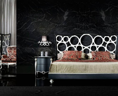 Dormitorio clasico Pelagia negro y plata