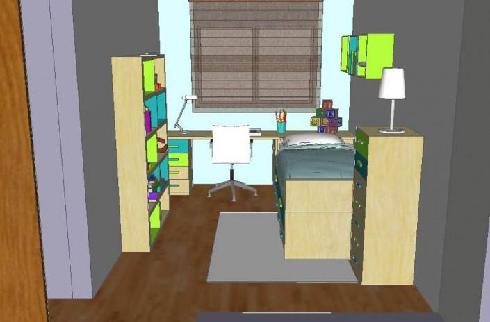 Dormitorio juvenil 3D AS-2