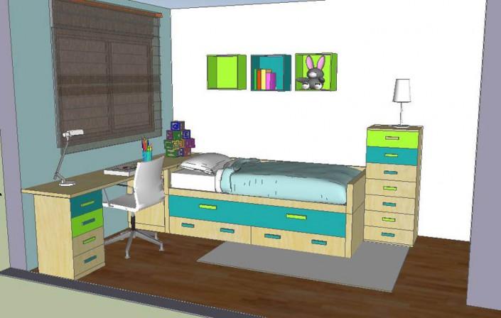Dormitorio juvenil 3D AS-3