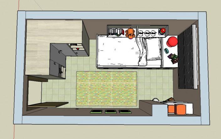 Proyecto dormitorio juvenil 3D CM-1