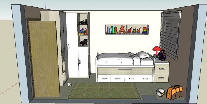 Proyecto dormitorio juvenil 3D CM-2