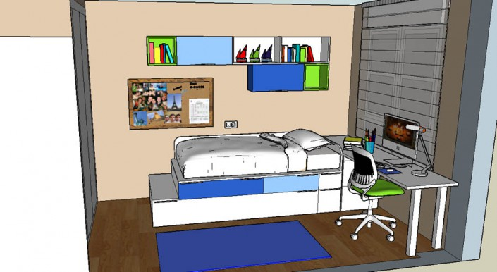Proyecto dormitorio juvenil 3D JG