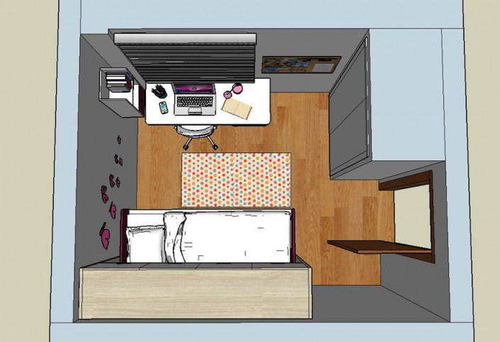 Proyecto dormitorio juvenil 3D CT-1